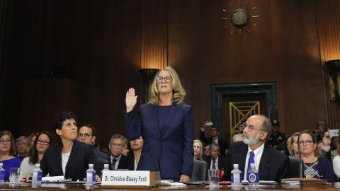 WASHINGTON, DC - SEPTEMBER 27: Professor Christine Blasey Ford, who accused U.S. Supreme Court nominee Brett Kavanaugh of a sexual assault in 1982, is sworn in to testify before a Senate Judiciary Committee confirmation hearing for Kavanaugh on Capitol Hill September 27, 2018 in Washington, DC. A professor at Palo Alto University and a research psychologist at the Stanford University School of Medicine, Ford has accused Supreme Court nominee Judge Brett Kavanaugh of sexually assaulting her during a party in 1982 when they were high school students in suburban Maryland. (Photo by Jim Bourg-Pool/Getty Images)
