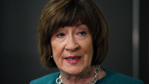 """U.S. Sen. Susan Collins, R-Maine, considered one of the few possible Republican """"no"""" votes on Supreme Court nominee Brett Kavanaugh, speaks to news media at Saint Anselm College, Friday, Sept. 21, 2018."""
