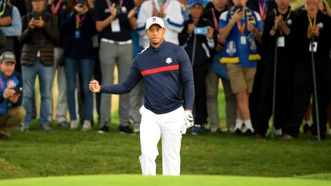 Woods is playing at the Ryder Cup for the first time since 2012.