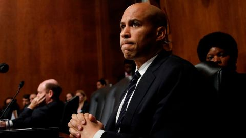 """Sen. Cory Booker (D-NJ) listens to Republican senators speak after colleagues walked out of a Senate Judiciary Committee meeting due to a break in """"regular order"""" of the committee on September 28, 2018 in Washington, DC. The committee met to discuss and later vote on the nomination of Judge Brett Kavanaugh to the U.S. Supreme Court prior to the nomination proceeding to a vote in the full U.S. Senate. (Photo by Win McNamee/Getty Images)"""