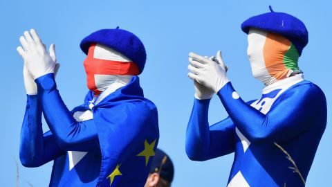 European fans applaud Saturday during the foursomes matches.