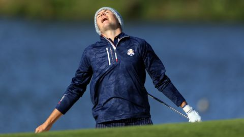 Jordan Spieth of the United States reacts to his third shot on the 10th hole during his match Saturday with Justin Thomas against the European team.
