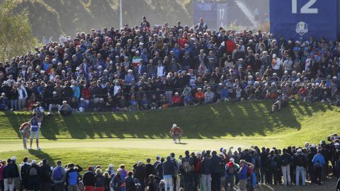 Team Europe's Ian Poulter plays during Saturday's foursomes matches.