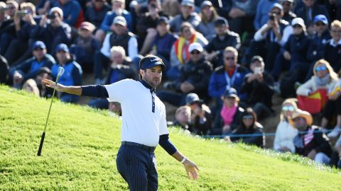 Bubba Watson of the United States reacts after playing his fourth shot on the ninth hole during the Saturday afternoon foursomes matches.