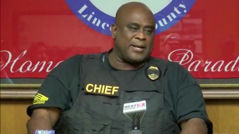 Brookhaven police Chief Kenneth Collins at a news conference announcing the deaths