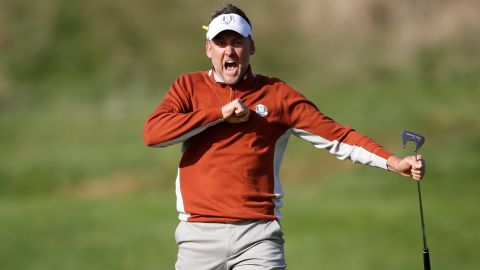 Team Europe's Ian Poulter reacts during Day Two of the Ryder Cup at Le Golf National outside Paris on Saturday, September 29.