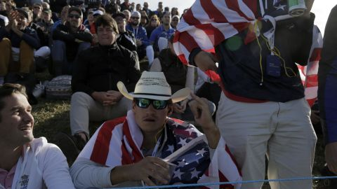 US supporters attend Day Two of the Ryder Cup at Le Golf National outside Paris.