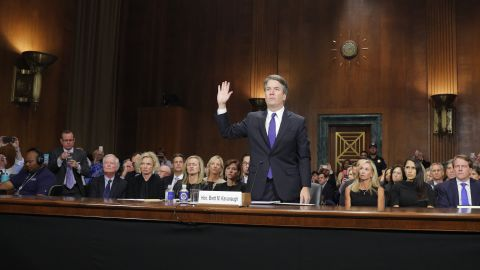 WASHINGTON D.C - SEPTEMBER 27: Judge Brett Kavanaugh testifies to the Senate Judiciary Committee during his Supreme Court confirmation hearing in the Dirksen Senate Office Building on Capitol Hill September 27, 2018 in Washington, DC. Kavanaugh was called back to testify about claims by Christine Blasey Ford, who has accused him of sexually assaulting her during a party in 1982 when they were high school students in suburban Maryland.  (Photo by Jim Bourg-Pool/Getty Images)