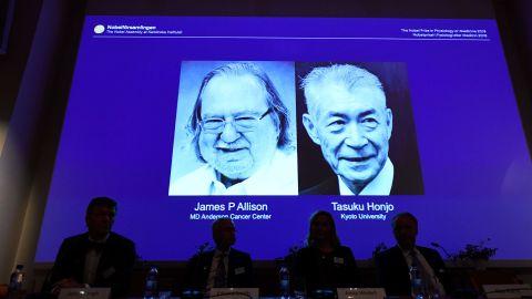 James Allison, pictured left, and Tasuku Honjo won the Nobel Prize in Medicine.