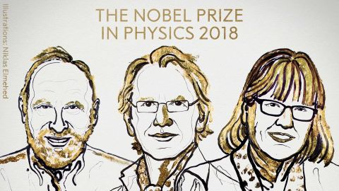 An illustration of the 2018 Nobel Prize in Physics winners.