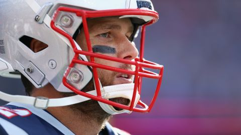 New England Patriots quarterback Tom Brady looks on during the second half against the Miami Dolphins on September 30, 2018.