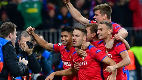 CSKA Moscow's Croatian midfielder Nikola Vlasic (C) celebrates with teammates after scoring the opening goal during the UEFA Champions League group G football match between PFC CSKA Moscow and Real Madrid CF at the Luzhniki stadium in Moscow on October 2, 2018. (Photo by Mladen ANTONOV / AFP)        (Photo credit should read MLADEN ANTONOV/AFP/Getty Images)