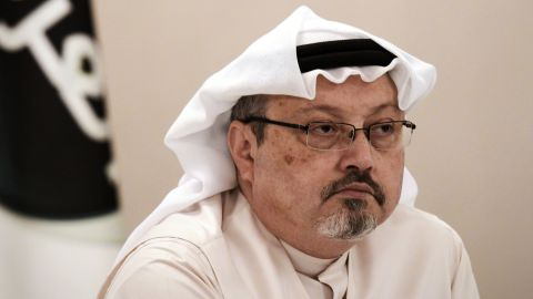 """A general manager of Alarab TV, Jamal Khashoggi, looks on during a press conference in the Bahraini capital Manama, on December 15, 2014. The  pan-Arab satellite news broadcaster owned by billionaire Saudi businessman Alwaleed bin Talal will go on air February 1, promising to """"break the mould"""" in a crowded field.AFP PHOTO/ MOHAMMED AL-SHAIKH        (Photo credit should read MOHAMMED AL-SHAIKH/AFP/Getty Images)"""