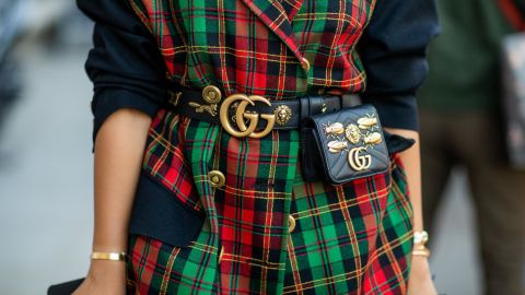 Gucci products on display at fashion week in Paris.