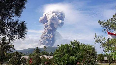 Mount Soputan in northern Sulawesi, Indonesia, erupts on Wednesday.