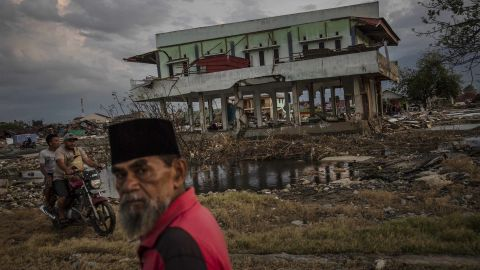 A damaged building in Palu on Wednesday, October 3.