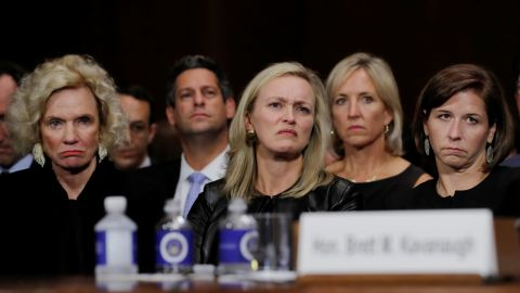 Facebook's VP of Public Policy Joel Kaplan (wearing a blue tie) sat near Supreme Court nominee Brett Kavanaugh's friends and family at last week's Senate confirmation hearing.