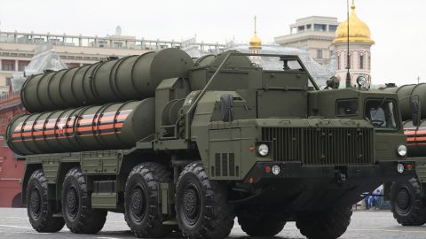 An S-400 Triumf surface-to-air missile system seen in Moscow's Red Square during a dress rehearsal of the upcoming 9 May military parade marking the 73rd anniversary of the victory in the Great Patriotic War, the Eastern Front of World War II. Sergei Savostyanov/TASS (Photo by Sergei Savostyanov\TASS via Getty Images)