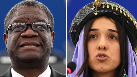 Congolese gynaecologist Denis Mukwege and Nadia Murad, public advocate for the Yazidi community in Iraq and survivor of sexual enslavement by the Islamic State jihadists won the 2018 Nobel Peace Prize on October 5, 2018 for their work in fighting sexual violence in conflicts around the world.