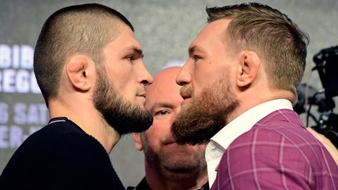 Nurmagomedov faces-off with  McGregor during the UFC 229 Press Conference.