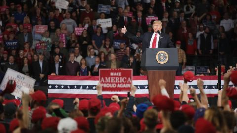 TOPEKA, KS - OCTOBER 06:  U.S. President Donald Trump speaks to supporters during a rally at the Kansas Expocenter on October 6, 2018 in Topeka, Kansas. Trump scored a political victory today when Judge Brett Kavanaugh was confirmed by the Senate to become the next Supreme Court justice.  (Photo by Scott Olson/Getty Images)