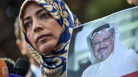 Nobel Peace Prize laureate Yemeni Tawakkol Karman holds a picture of missing journalist Jamal Khashoggi during a demonstration in front of the Saudi Arabian consulate, on October 5, 2018 in Istanbul. - Jamal Khashoggi, a veteran Saudi journalist who has been critical towards the Saudi government has gone missing after visiting the kingdom's consulate in Istanbul on October 2, 2018, the Washington Post reported. (Photo by OZAN KOSE / AFP)        (Photo credit should read OZAN KOSE/AFP/Getty Images)