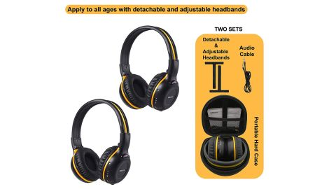 """<strong>SIMOLIO 2 Pack of IR Wireless Headphones for Car DVD/TV, with 3.5mm Aux Cord, Cars Kids Headphones ($49.99; </strong><a href=""""https://amzn.to/2NFZzHX"""" target=""""_blank"""" target=""""_blank""""><strong>amazon.com</strong></a><strong>) </strong>"""