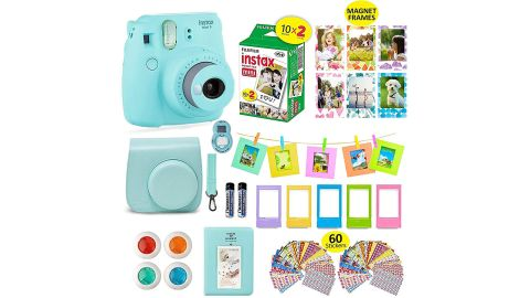 """<strong>Fujifilm Instax Mini 9 ICE Blue Camera Accessories Bundle Kit </strong><strong>($19.95; </strong><a href=""""https://amzn.to/2CfLzCO"""" target=""""_blank"""" target=""""_blank""""><strong>amazon.com</strong></a><strong>) </strong><br />"""