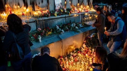 Vigil for murdered TV journalist Viktoria Marinova in Ruse, Bulgaria.