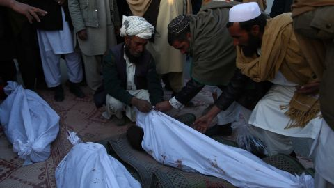 GHAZNI, Jan. 28, 2018  People stand beside the bodies of children who were killed in airstrike in Ghazni province, Afghanistan, Feb. 7, 2018. In eastern Ghazni province, four children were killed following an airstrike in Dih Yak district on Wednesday, provincial government spokesman Harif Noori confirmed to Xinhua.  rh) (Credit Image: © Sayed Mominzadah/Xinhua via ZUMA Wire)