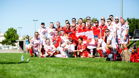 The Toronto Mounties pose for a team photo during Gay Bowl's opening morning.