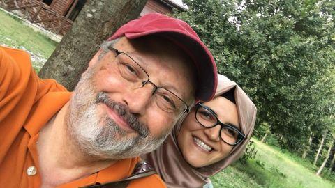 Missing Saudi Journalist Jamal Khashoggi with his fiance Hatice Cengiz