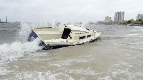 This boat ran aground at Florida's Quietwater Beach.