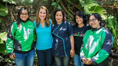 Melinda Gates with Go-Jek team members in Indonesia