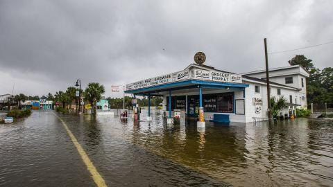 Bo Lynn's Market is flooded in St. Marks on October 10.