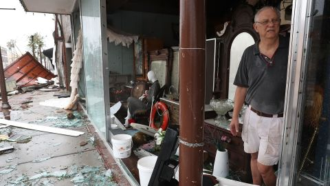 Mike Lindsey stands in his Panama City antique shop after it was damaged by Hurricane Michael on October 10.