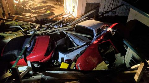Cars are tossed among the debris in Mexico Beach.