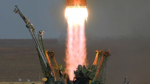 """The rocket blasts off from the launch pad. Shortly after, the Soyuz MS-10 spacecraft was able to separate from the Soyuz-FG rocket after the booster failure emerged. """"I'm grateful that everyone is safe,"""" said NASA administrator Jim Bridenstine. """"A thorough investigation into the cause of the incident will be conducted."""""""