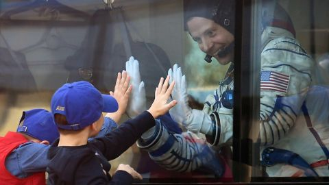 Nick Hague bids farewell during a ceremony ahead of the rocket's departure.