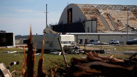 An aircraft hangar damaged by Hurricane Michael is seen at Tyndall Air Force Base, Florida on October 11, 2018.