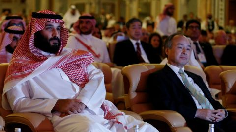 Saudi Crown Prince Mohammed bin Salman, Masayoshi Son, SoftBank Group Corp. Chairman and CEO, and Christine Lagarde, International Monetary Fund (IMF) Managing Director, attend the Future Investment Initiative conference in Riyadh, Saudi Arabia October 24, 2017. REUTERS/Faisal Al Nasser