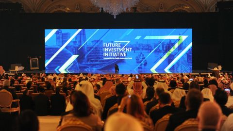 People attend the Future Investment Initiative conference in Riyadh in 2017.