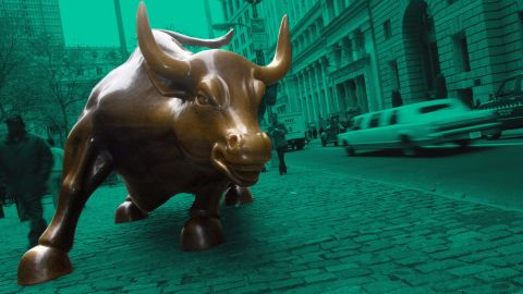 382055 03: A bronze sculpture of a bull is displayed on Broadway in the financial district November 14, 2000 in New York City. The sculpture began as a practical joke by Italian sculptor Arturo di Modica, who originally placed it in front of the New York Stock Exchange building in the middle of the night. The NYSE promptly removed the bull and eventually placed it on Broadway. (Photo by Chris Hondros/Newsmakers)