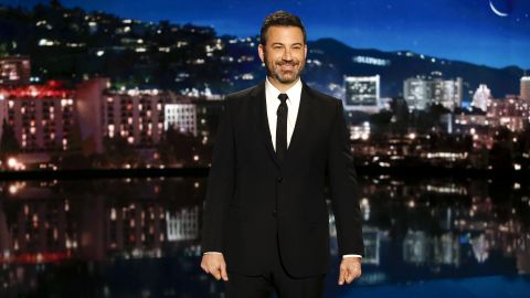 """JIMMY KIMMEL LIVE! - """"Jimmy Kimmel Live!"""" airs every weeknight at 11:35 p.m. EDT and features a diverse lineup of guests that include celebrities, athletes, musical acts, comedians and human interest subjects, along with comedy bits and a house band. The guests for Thursday, October 11 included Dakota Johnson (""""Suspiria"""" and """"Bad Times at the El Royale""""), Ike Barinholtz (""""The Oath""""), and musical guest Tom Morello with Portugal. The Man and Whethan. (Randy Holmes via Getty Images) JIMMY KIMMEL"""