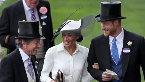 Meghan and Harry attend the Royal Ascot horse races in June 2018.