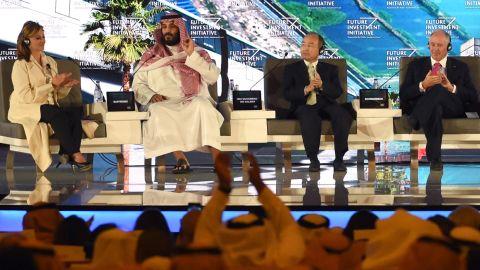 SoftBank CEO Masayoshi Son alongside Saudi Crown Prince Mohammed bin Salman at a high-profile Saudi investment conference last year.