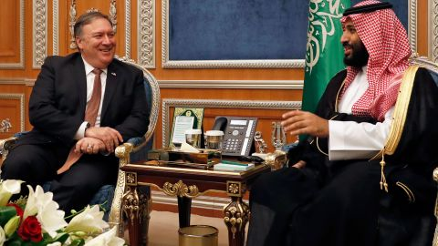 US Secretary of State Mike Pompeo (L) meets with Saudi Crown Prince Mohammed bin Salman in Riyadh, on October 16, 2018. - Pompeo held talks with Saudi King Salman seeking answers about the disappearance of journalist Jamal Khashoggi, amid US media reports the kingdom may be mulling an admission he died during a botched interrogation. (Photo by LEAH MILLIS / POOL / AFP)        (Photo credit should read LEAH MILLIS/AFP/Getty Images)