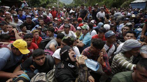 A caravan of Honduran migrants began forming Saturday and reached Guatemala's border on Monday.