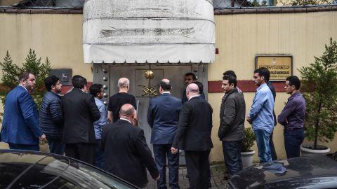 A Saudi investigation delegation enters the Saudi Arabian consulate Monday before Turkish investigators arrive.