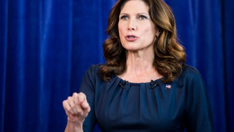 UNITED STATES - OCTOBER 12: Rep. Mary Bono Mack, R-Calif., participates in the televised debate with her challenger Dr. Raul Ruiz at the KMIR6 News studio in Palm Desert, Calif., on Friday, Oct. 12, 2012. The two candidates are running in California's 36th Congressional district.